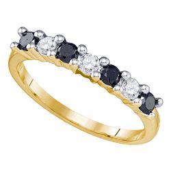 0.50 CTW Black Color Diamond Wedding Anniversary Ring 10KT Yellow Gold - REF-26F9N