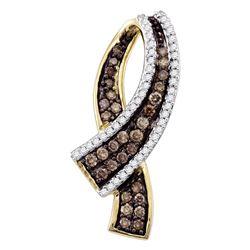 0.49 CTW Cognac-brown Color Pave-set Diamond Ribbon Pendant 10KT Yellow Gold - REF-30X2Y