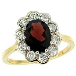 Natural 2.34 ctw Garnet & Diamond Engagement Ring 10K Yellow Gold - REF-70G6M