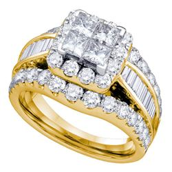 2 CTW Princess Diamond Cluster Bridal Engagement Ring 14KT Yellow Gold - REF-194K9W