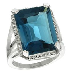 Natural 15.06 ctw London-blue-topaz & Diamond Engagement Ring 14K White Gold - REF-87X2A