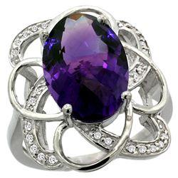 Natural 5.59 ctw amethyst & Diamond Engagement Ring 14K White Gold - REF-59W6K