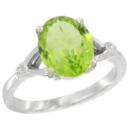 Natural 2.79 ctw Peridot & Diamond Engagement Ring 14K White Gold - REF-38M6H