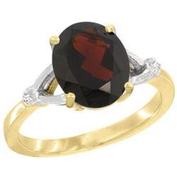 Natural 2.41 ctw Garnet & Diamond Engagement Ring 14K Yellow Gold - REF-37M3H