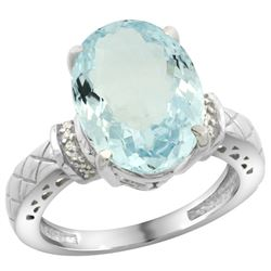 Natural 5.53 ctw Aquamarine & Diamond Engagement Ring 14K White Gold - REF-89K6R