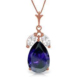 Genuine 5.15 ctw White Topaz Necklace Jewelry 14KT Rose Gold - REF-51A9K