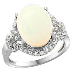 Natural 5.89 ctw opal & Diamond Engagement Ring 14K White Gold - REF-90F7N