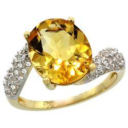 Natural 6.45 ctw citrine & Diamond Engagement Ring 14K Yellow Gold - REF-54V3F