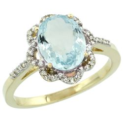 Natural 1.51 ctw Aquamarine & Diamond Engagement Ring 14K Yellow Gold - REF-45A3V