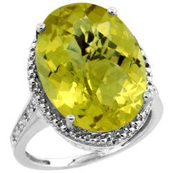 Natural 13.6 ctw Lemon-quartz & Diamond Engagement Ring 14K White Gold - REF-68V4F