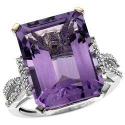 Natural 12.14 ctw amethyst & Diamond Engagement Ring 14K White Gold - REF-66R2Z