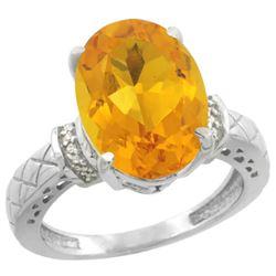 Natural 5.53 ctw Citrine & Diamond Engagement Ring 14K White Gold - REF-60A3V