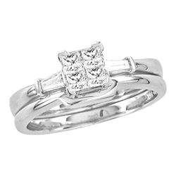 0.49 CTW Princess Diamond Bridal Engagement Ring 14KT White Gold - REF-94H5M