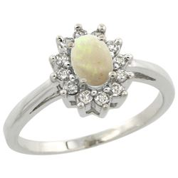 Natural 0.47 ctw Opal & Diamond Engagement Ring 14K White Gold - REF-48M2H