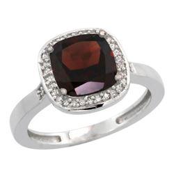 Natural 3.94 ctw Garnet & Diamond Engagement Ring 14K White Gold - REF-39Z7Y