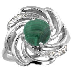 Natural 5.15 ctw malachite & Diamond Engagement Ring 14K White Gold - REF-55W4K