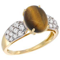 Natural 2.65 ctw tiger-eye & Diamond Engagement Ring 14K Yellow Gold - REF-56R2Z