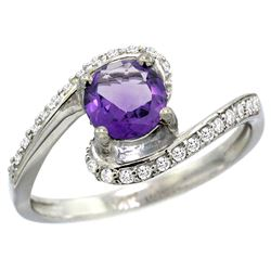 Natural 0.99 ctw amethyst & Diamond Engagement Ring 10K White Gold - REF-42W2K