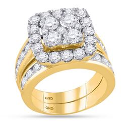 4.26 CTW Diamond Square Cluster Bridal Engagement Ring 14KT Yellow Gold - REF-524M9H
