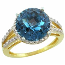 Natural 5.34 ctw London-blue-topaz & Diamond Engagement Ring 14K Yellow Gold - REF-46F9N
