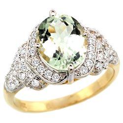 Natural 2.92 ctw green-amethyst & Diamond Engagement Ring 14K Yellow Gold - REF-102G7M
