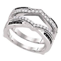 0.50 CTW Black Color Diamond Wrap Ring 10KT White Gold - REF-44K9W
