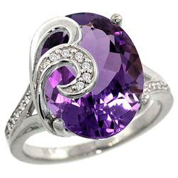 Natural 11.18 ctw amethyst & Diamond Engagement Ring 14K White Gold - REF-82G2M