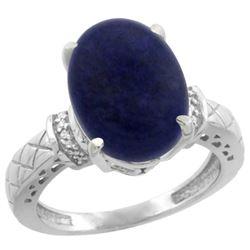 Natural 5.53 ctw Lapis & Diamond Engagement Ring 14K White Gold - REF-54R3Z