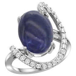 Natural 4.91 ctw Lapis & Diamond Engagement Ring 14K White Gold - REF-85W7K
