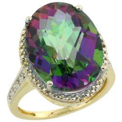Natural 13.6 ctw Mystic-topaz & Diamond Engagement Ring 10K Yellow Gold - REF-59F2N