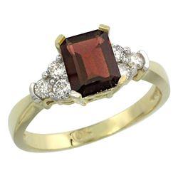Natural 1.48 ctw garnet & Diamond Engagement Ring 14K Yellow Gold - REF-52K3R