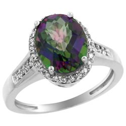 Natural 2.49 ctw Mystic-topaz & Diamond Engagement Ring 14K White Gold - REF-42H2W