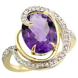 Natural 6.53 ctw amethyst & Diamond Engagement Ring 14K Yellow Gold - REF-72H8W