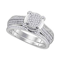 0.50 CTW Diamond Cluster Bridal Engagement Ring 10KT White Gold - REF-49X5Y
