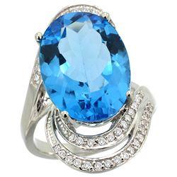 Natural 11.2 ctw swiss-blue-topaz & Diamond Engagement Ring 14K White Gold - REF-95A8V