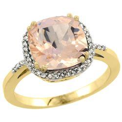 Natural 2.81 ctw Morganite & Diamond Engagement Ring 14K Yellow Gold - REF-69W6K