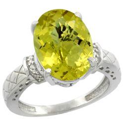 Natural 5.53 ctw Lemon-quartz & Diamond Engagement Ring 14K White Gold - REF-57G8M