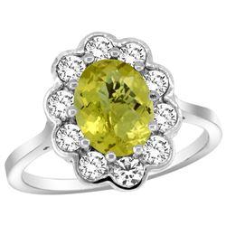 Natural 2.34 ctw Lemon-quartz & Diamond Engagement Ring 14K White Gold - REF-80H8W