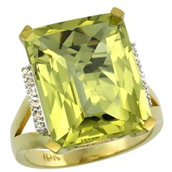 Natural 12.13 ctw Lemon-quartz & Diamond Engagement Ring 10K Yellow Gold - REF-52M2H