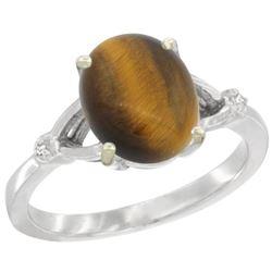 Natural 2.31 ctw Tiger-eye & Diamond Engagement Ring 10K White Gold - REF-22H3W