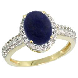 Natural 1.95 ctw Lapis & Diamond Engagement Ring 14K Yellow Gold - REF-39N2G