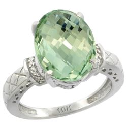 Natural 5.53 ctw Green-amethyst & Diamond Engagement Ring 10K White Gold - REF-44Z6Y
