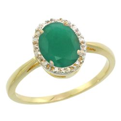 Natural 1.52 ctw Emerald & Diamond Engagement Ring 14K Yellow Gold - REF-36A5V