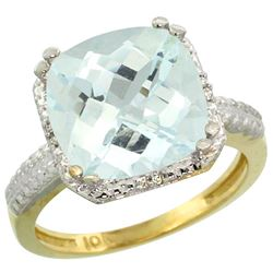 Natural 4.89 ctw Aquamarine & Diamond Engagement Ring 14K Yellow Gold - REF-70V4F