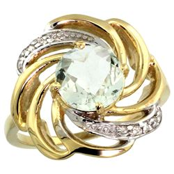 Natural 2.25 ctw green-amethyst & Diamond Engagement Ring 14K Yellow Gold - REF-57R8Z
