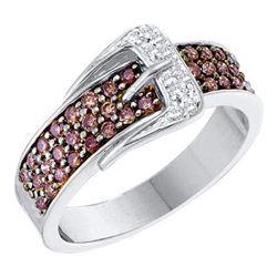 0.50 CTW Cognac-brown Color Diamond Belt Buckle Ring 14KT White Gold - REF-55X5Y