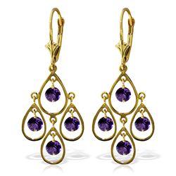 Genuine 2.4 ctw Amethyst Earrings Jewelry 14KT Yellow Gold - REF-54F9Z