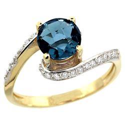 Natural 1.24 ctw london-blue-topaz & Diamond Engagement Ring 10K Yellow Gold - REF-42R8Z