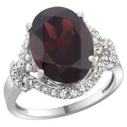 Natural 6.91 ctw garnet & Diamond Engagement Ring 14K White Gold - REF-97V5F