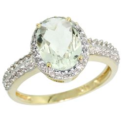 Natural 1.91 ctw Green-amethyst & Diamond Engagement Ring 14K Yellow Gold - REF-41A3V